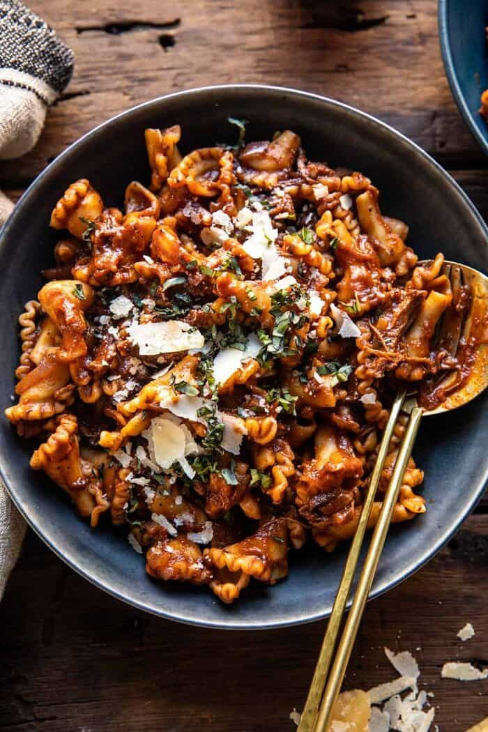 overhead close up photo of Slow Cooker Red Wine Braised Short Rib Pasta
