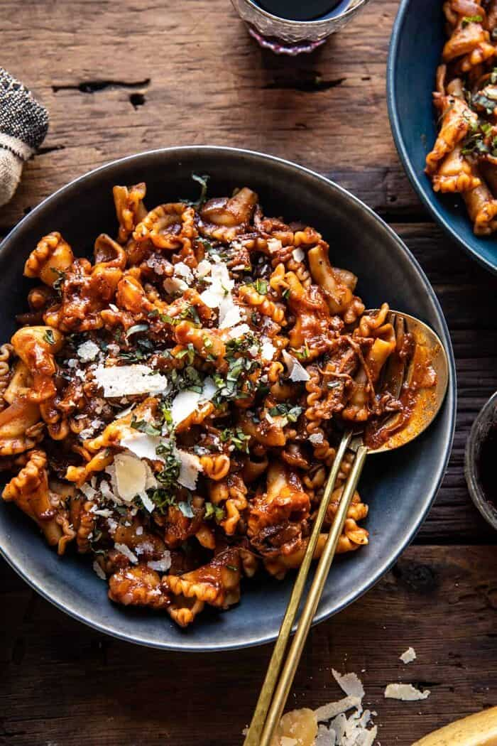 overhead photo of Slow Cooker Red Wine Braised Short Rib Pasta