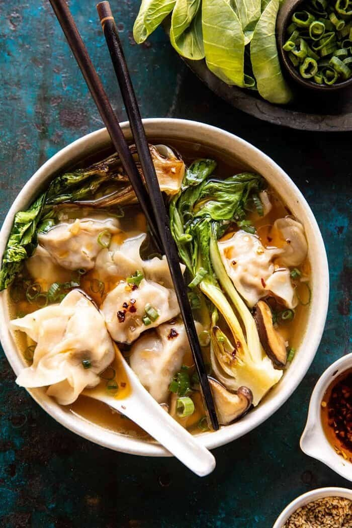 overhead photo of 25 Minute Wonton Soup with Sesame Chili Oil