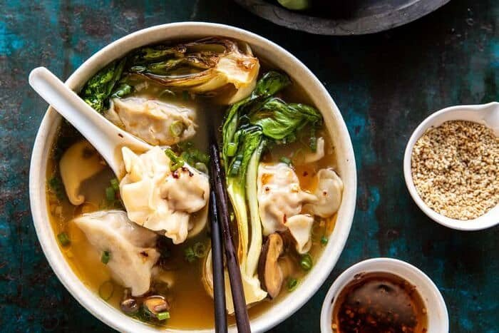 overhead horizontal photo of 25 Minute Wonton Soup with Sesame Chili Oil
