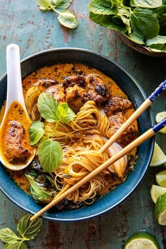 30 Minute Creamy Thai Turmeric Chicken and Noodles | halfbakedharvest.com