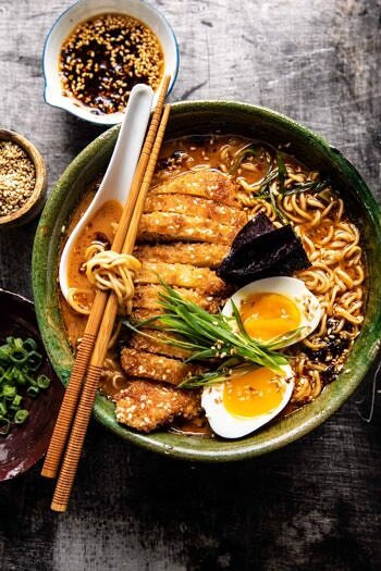 30 Minute Spicy Miso Chicken Katsu Ramen.