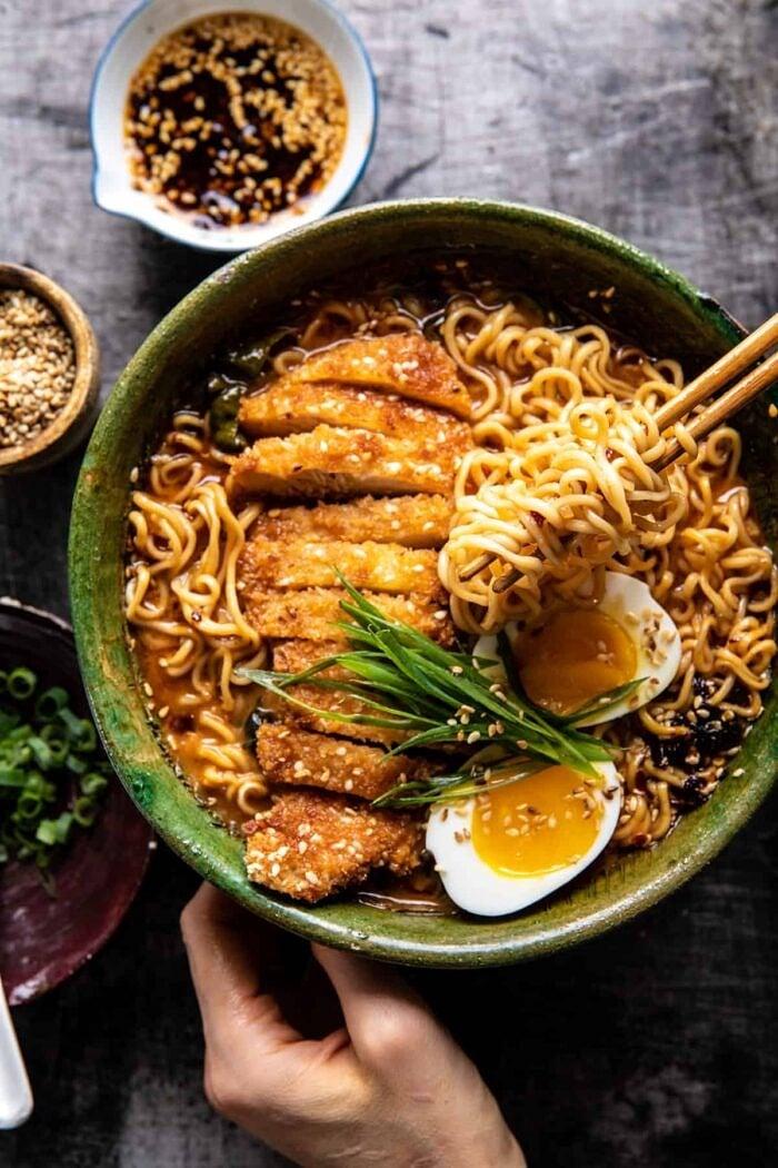 overhead photo of 30 Minute Spicy Miso Chicken Katsu Ramen