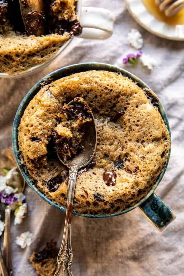 5 Minute Chocolate Chunk Banana Bread Mug Cake.