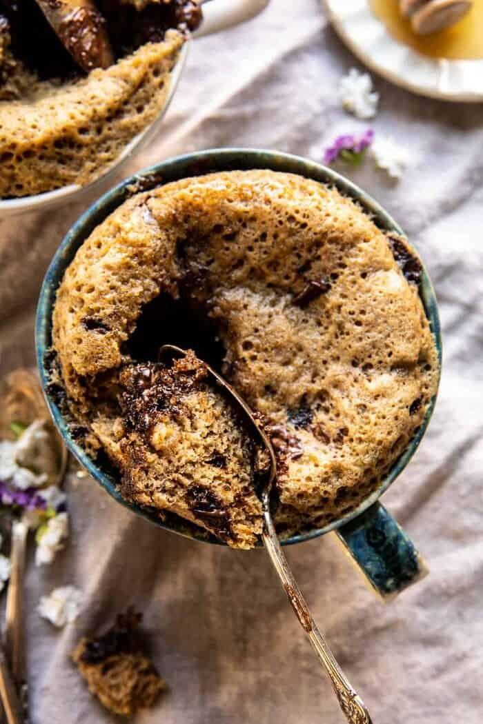 overhead photo of 5 Minute Chocolate Chunk Banana Bread Mug Cake