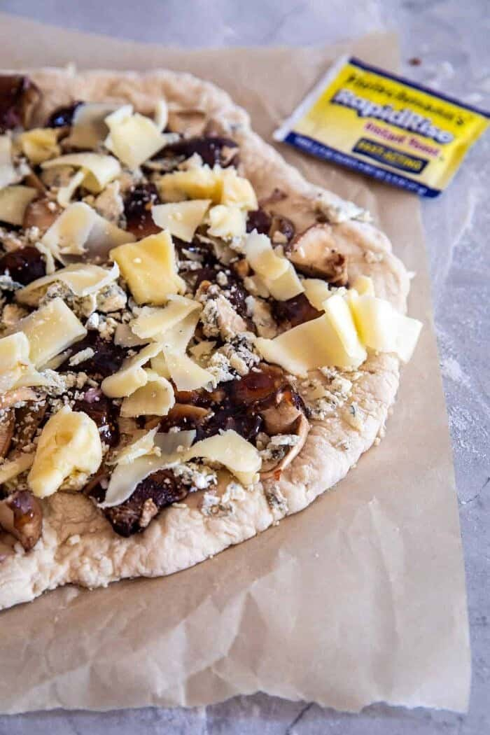 Balsamic Mushroom Fontina Pizza before going into the oven