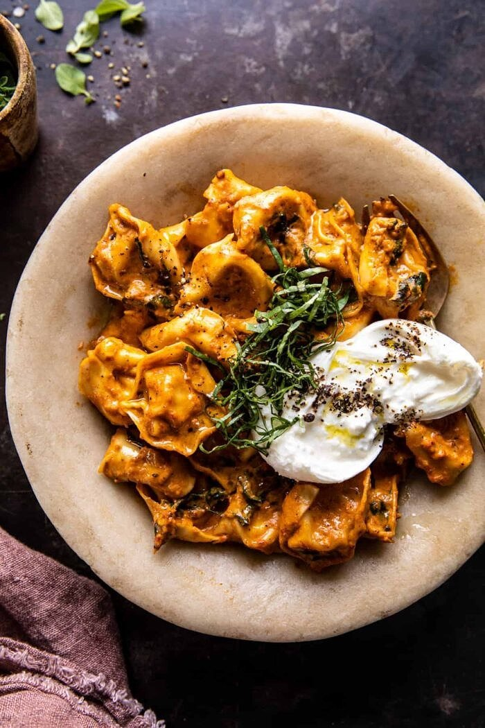 Creamy Roasted Red Pepper Tortellini.