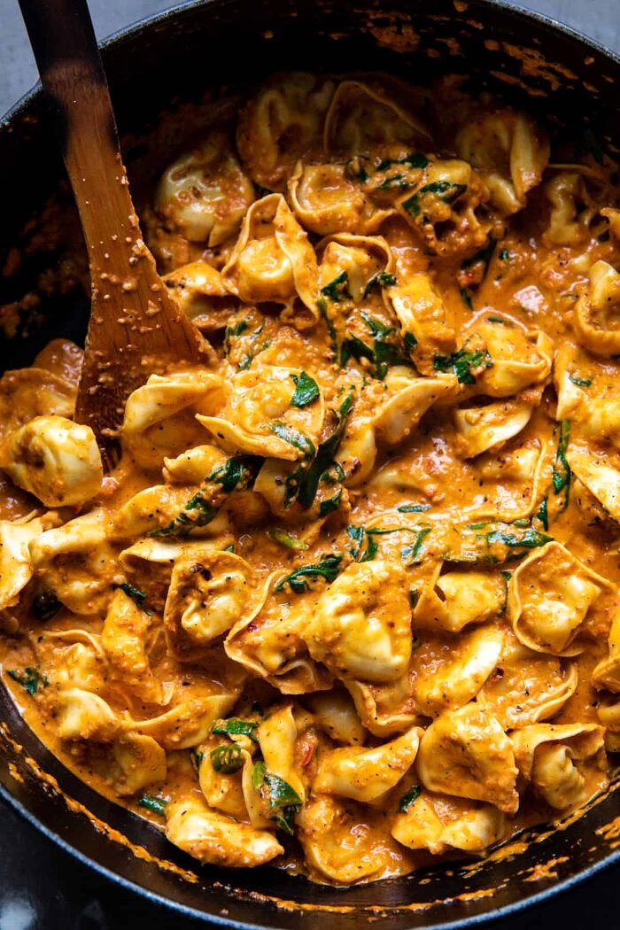 Creamy Roasted Red Pepper Tortellini in skillet