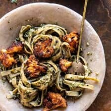 Crispy Roasted Cauliflower with Creamy Pesto Pasta.