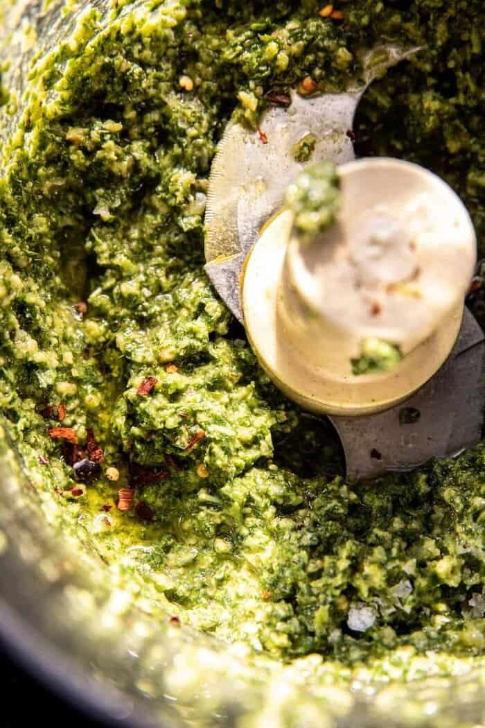 prep photo of pesto in food processor
