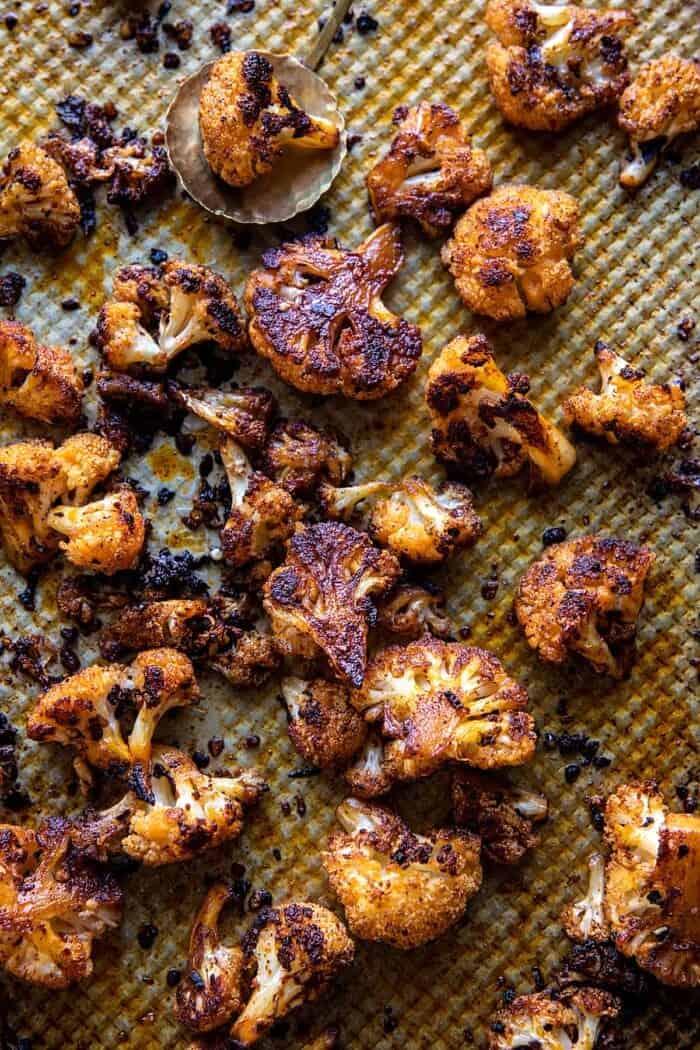 Crispy Roasted Cauliflower on baking sheet