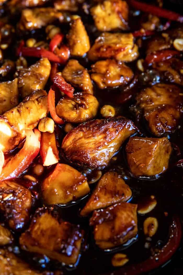 Healthier 25 Minute Kung Pao Chicken cooking in the skillet