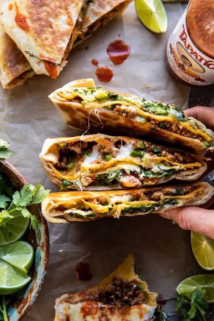 overhead photo of Healthier Homemade Crunchwrap Supreme