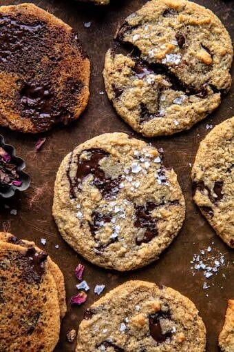 Salted Tahini Butter Chocolate Chip Cookies | halfbakedharvest.com