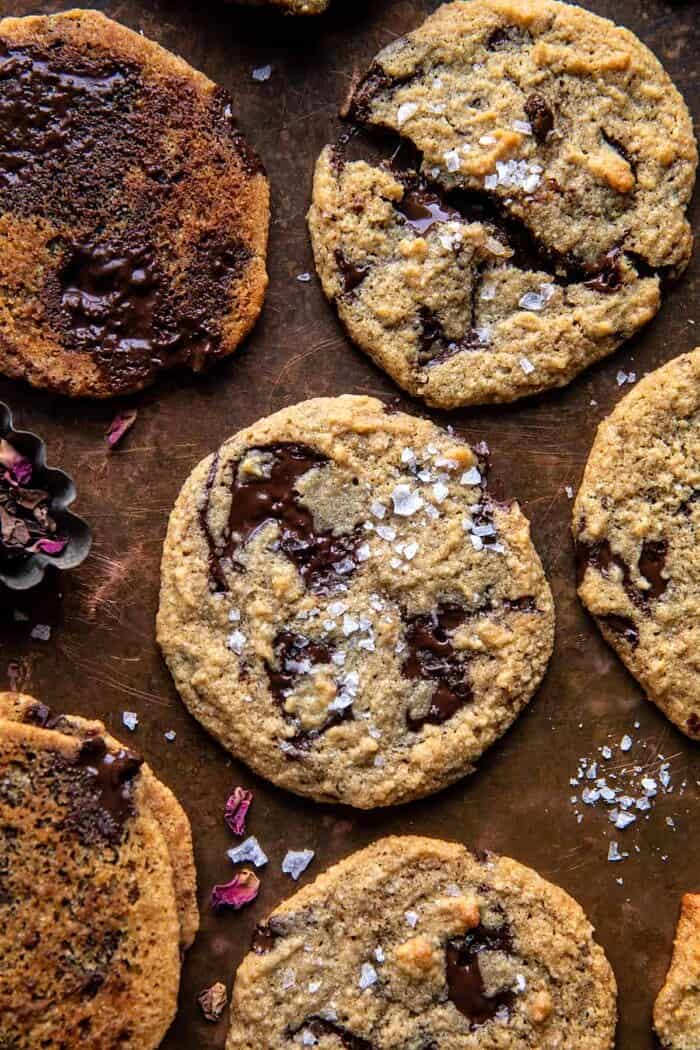 Salted Tahini Butter Chocolate Chip Cookies.