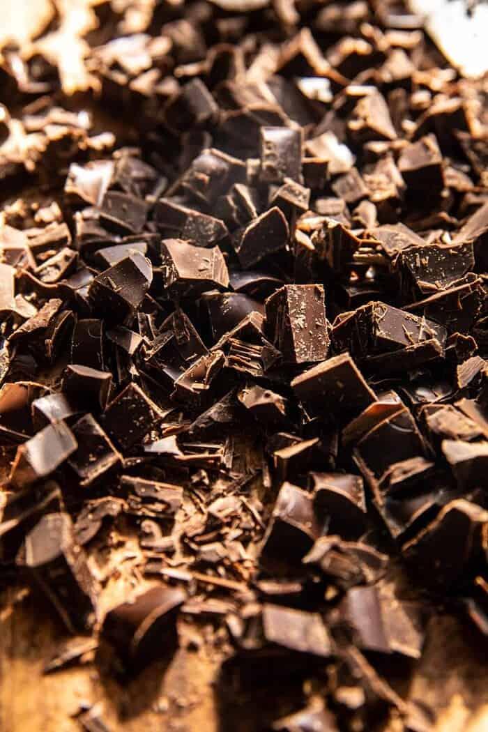 close up photo of chopped chocolate bar