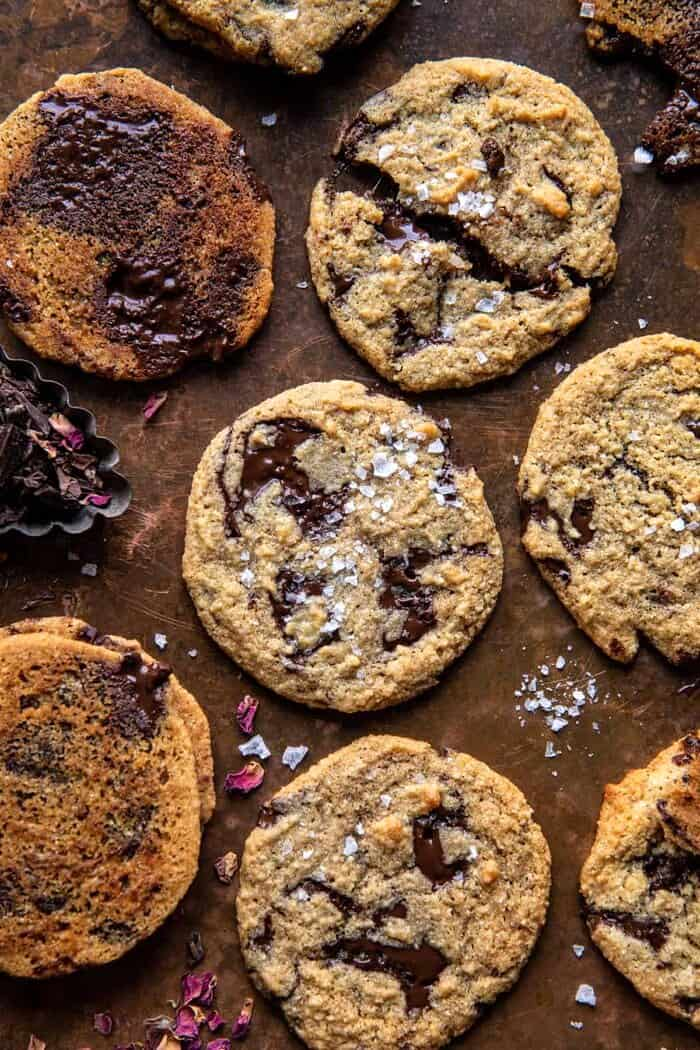 overhead photo of Salted Tahini Butter Chocolate Chip Cookies
