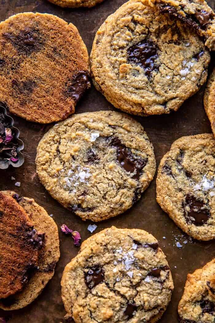 overhead close up photo of Salted Tahini Butter Chocolate Chip Cookies