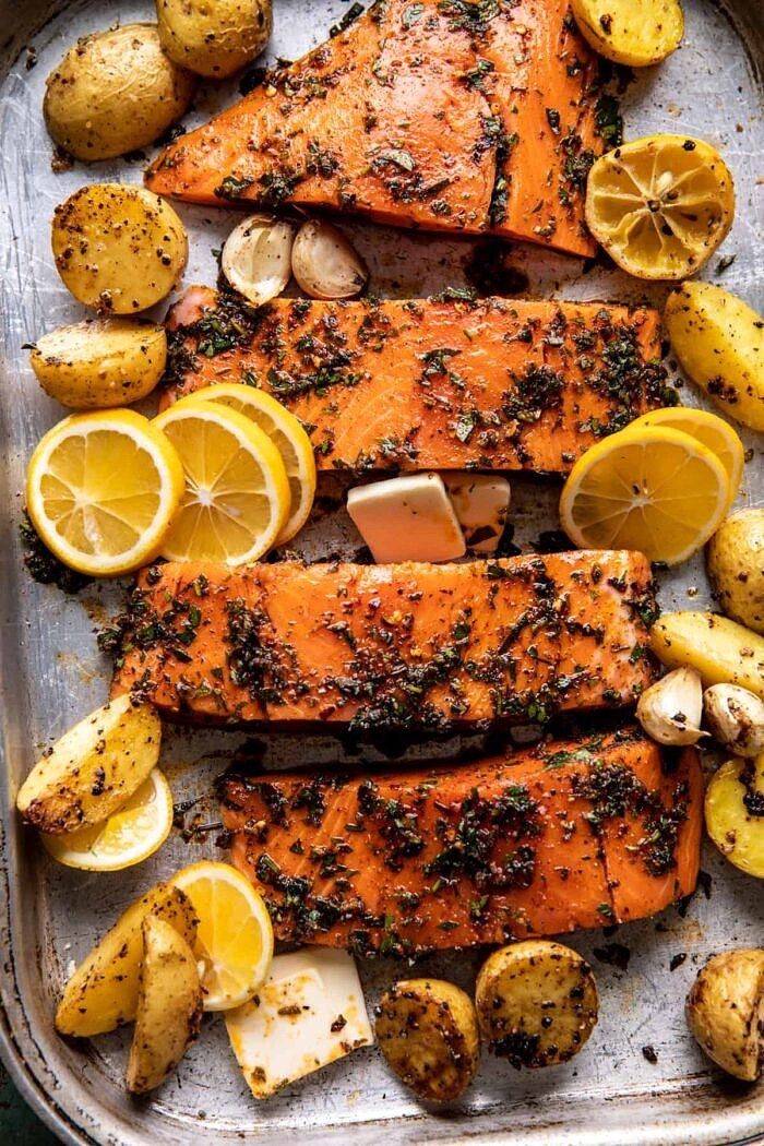 salmon on baking sheet before cooking