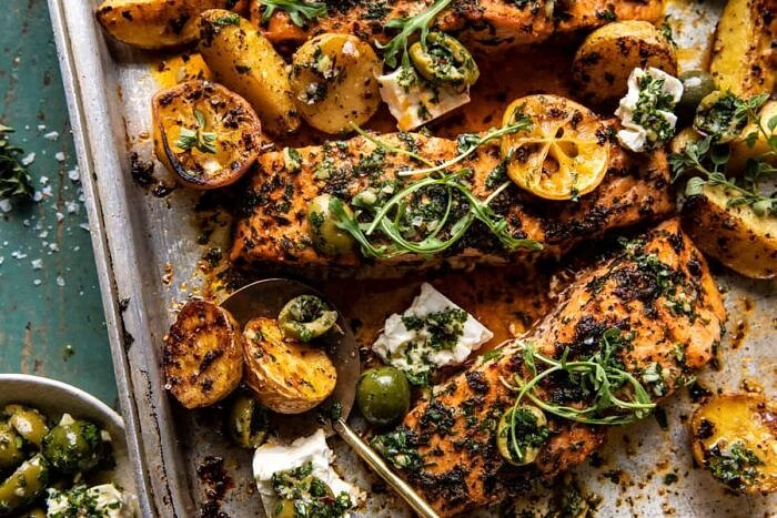 Sheet Pan Roasted Lemon Garlic Butter Salmon with Feta and Olives | halfbakedharvest.com