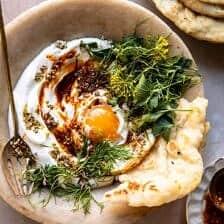 Za'atar Eggs with Lemony Yogurt and Herbs.