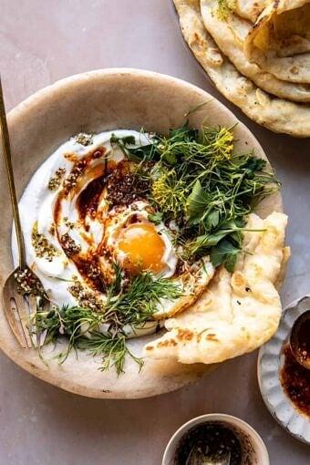 Za'atar Eggs with Lemony Yogurt and Herbs | halfbakedharvest.com