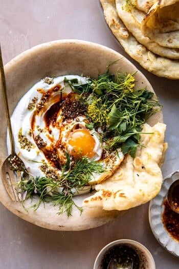 Za'atar Eggs with Lemony Yogurt and Herbs.