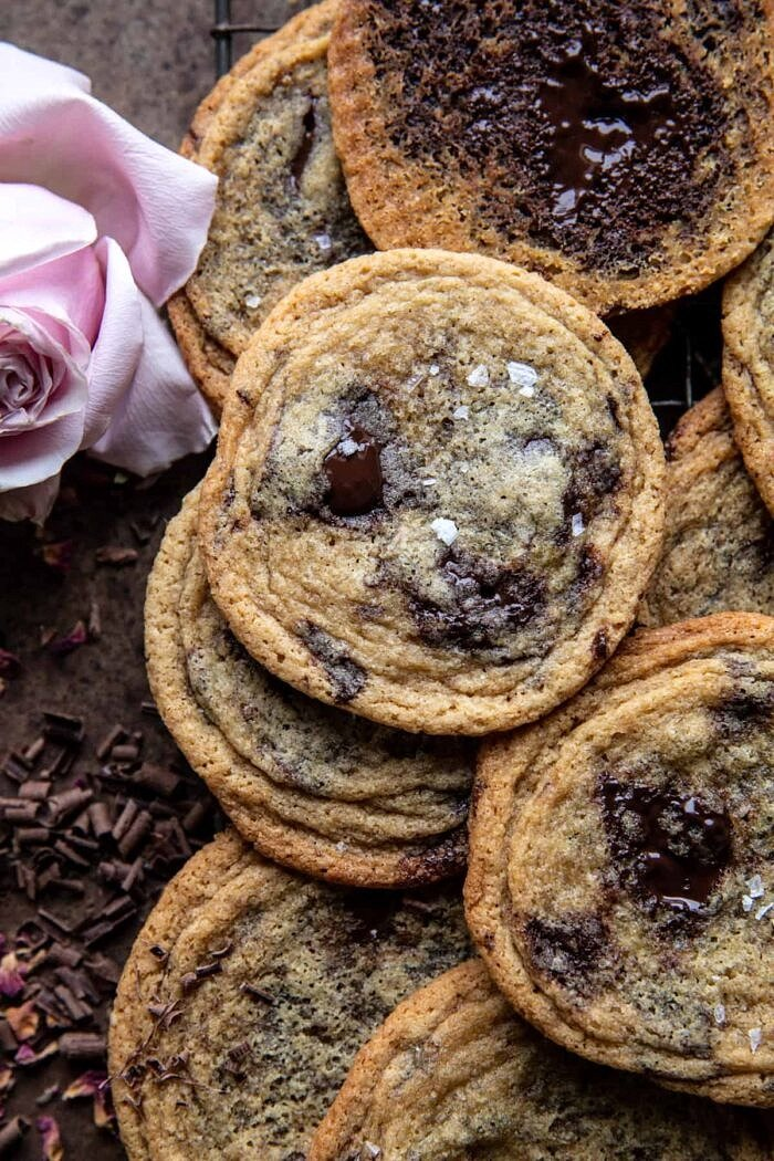close up photo of Brown Butter Malted Chocolate Chunk Cookies
