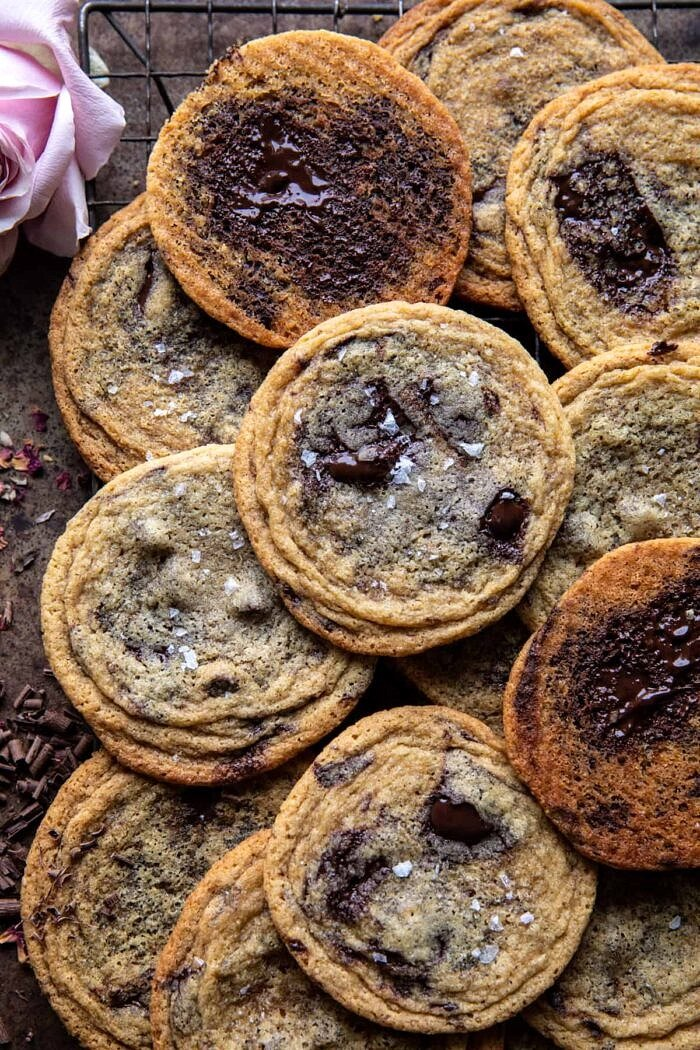 overhead photo of Brown Butter Malted Chocolate Chunk Cookies