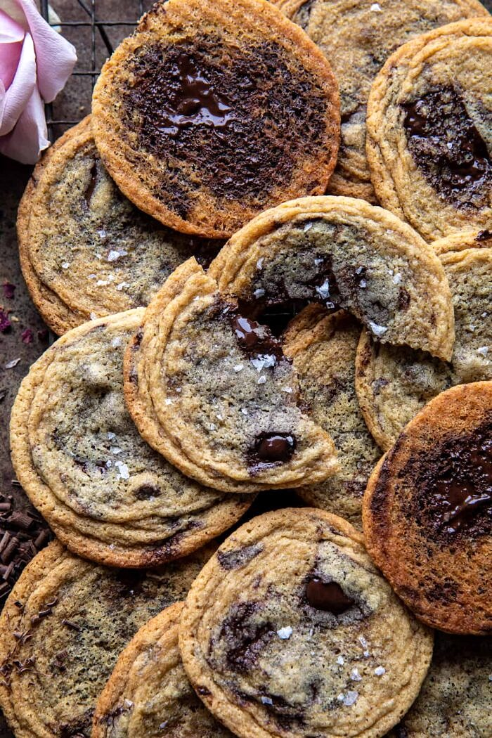 Brown Butter Malted Chocolate Chunk Cookie broken in half