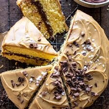 Caramel Butter Cake with Fudgy Chocolate Frosting | halfbakedharvest.com