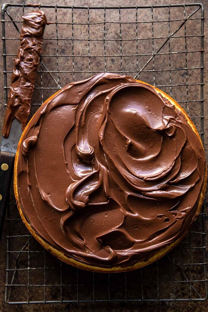 Fudgy Chocolate Frosting on first ayer of cake