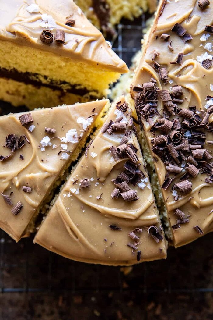 close up photo of Caramel Butter Cake with Fudgy Chocolate Frosting