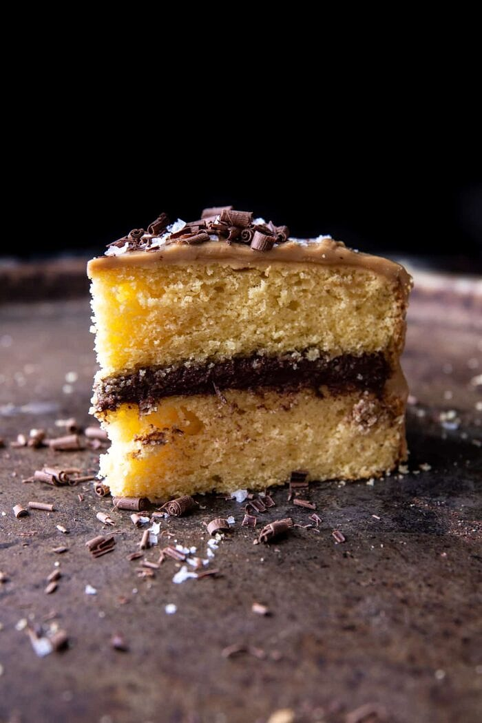 New! Old School style Caramel Butter Cake with Fudgy Chocolate Frosting. Every bite is sweet, salty, extra chocolatey, and truly delicious. Recipe: https://www.halfbakedharvest.com/caramel-butter-cake/