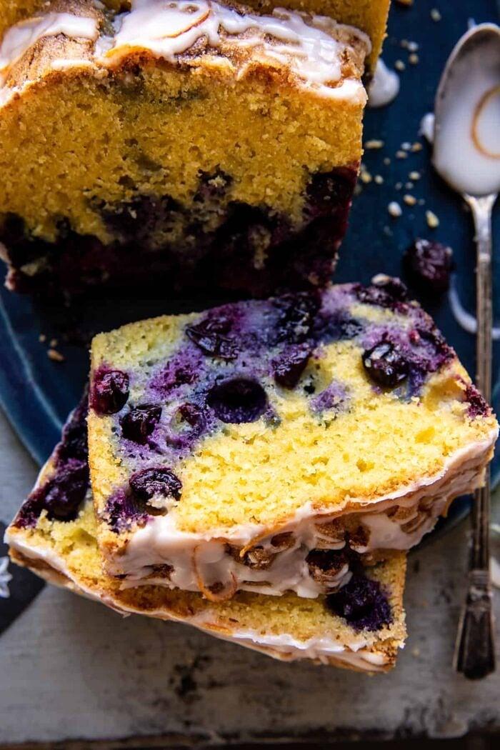 close up photo of Earl Grey Blueberry Lemon Cake slice