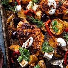 Easy Greek Sheet Pan Chicken Souvlaki and Potatoes.