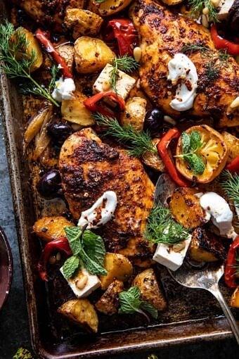 Easy Greek Sheet Pan Chicken Souvlaki and Potatoes | halfbakedharvest.com