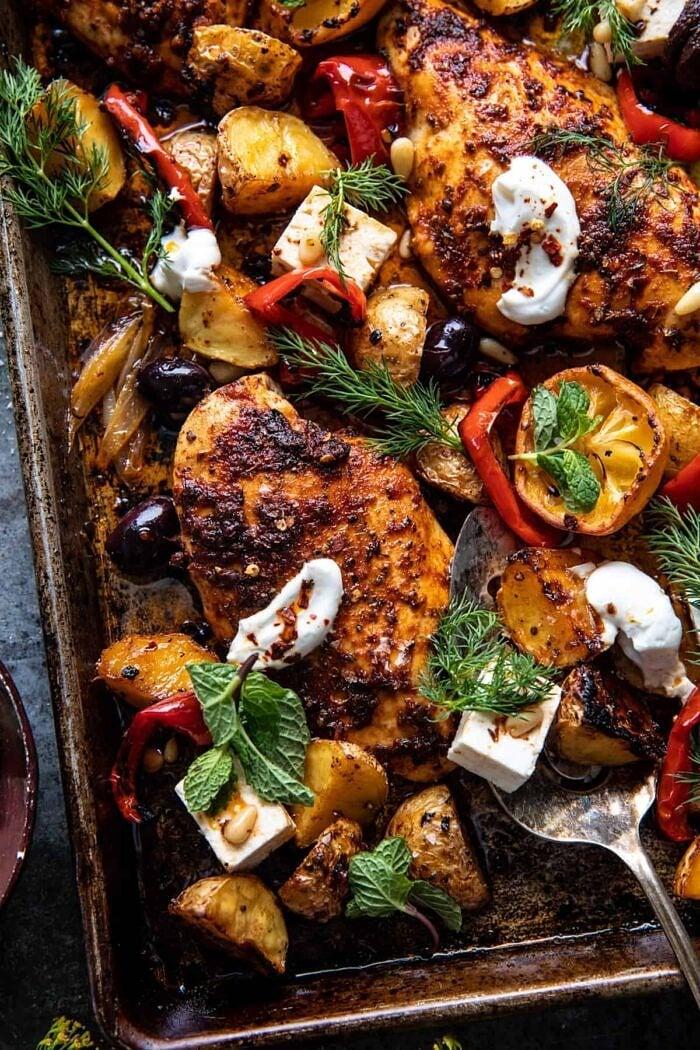 overhead photo of Easy Greek Sheet Pan Chicken Souvlaki and Potatoes