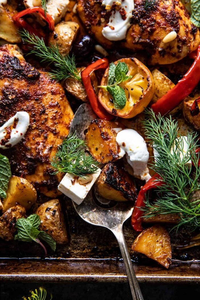 overhead close up photo of Easy Greek Sheet Pan Chicken Souvlaki and Potatoes