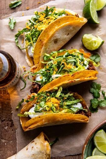 Homemade Cheesy Gordita Crunch Tacos | halfbakedharvest.com