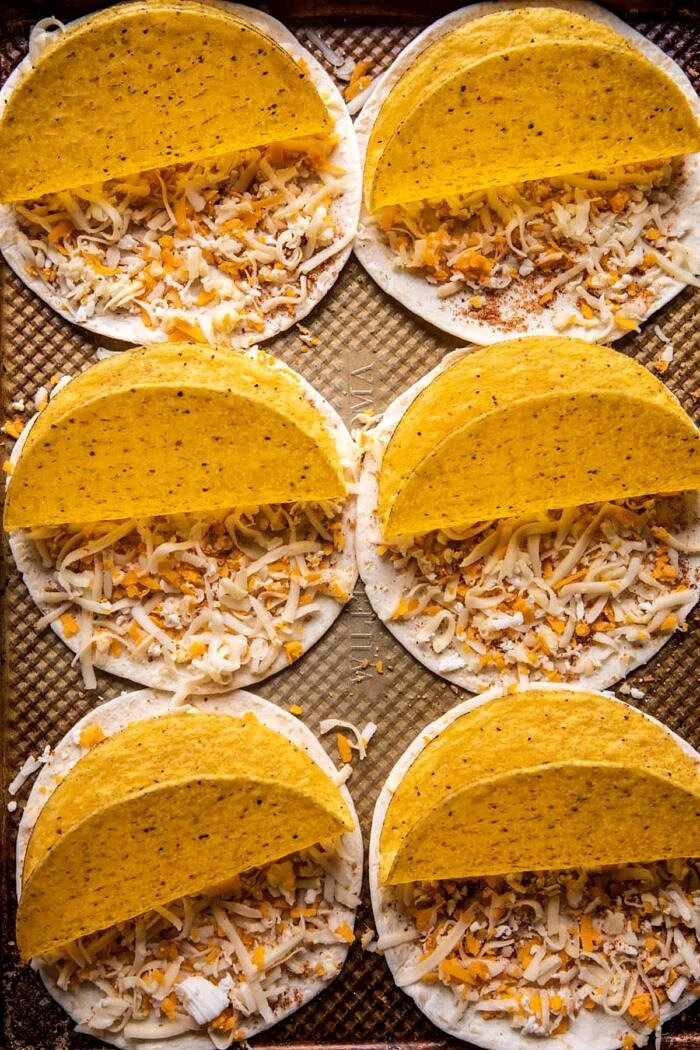 prep photo of taco shells before baking