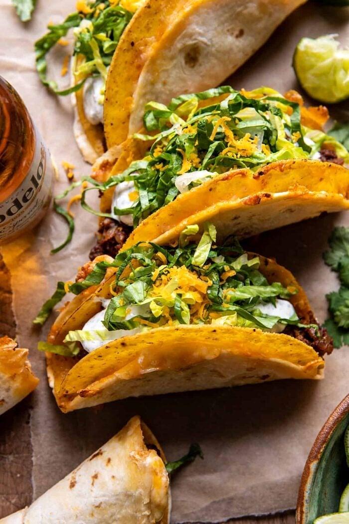 close up photo of Homemade Cheesy Gordita Crunch Tacos