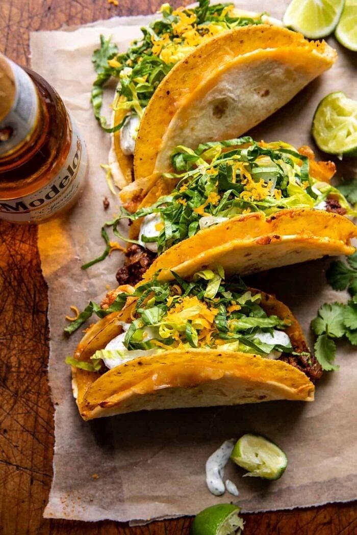 overhead photo of Homemade Cheesy Gordita Crunch Tacos