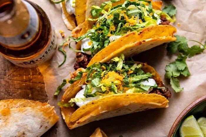 overhead horizontal photo of Homemade Cheesy Gordita Crunch Tacos
