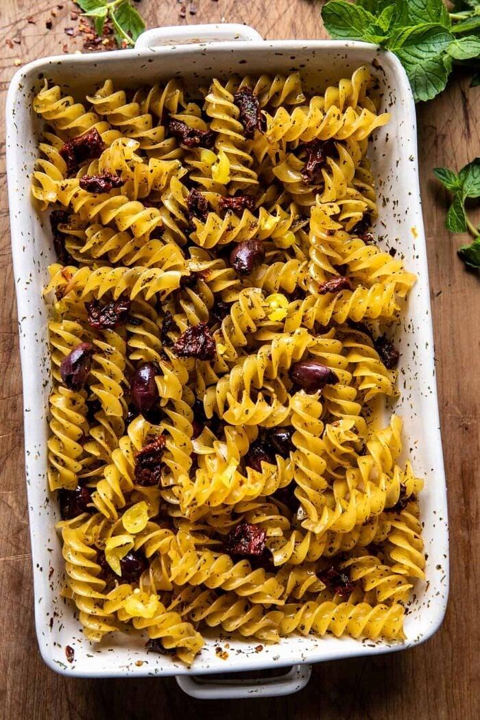 One Pan Baked Cheesy Basil Pasta | halfbakedharvest.com