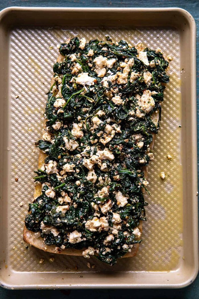 prep photo of melt with spinach mixture on the bread