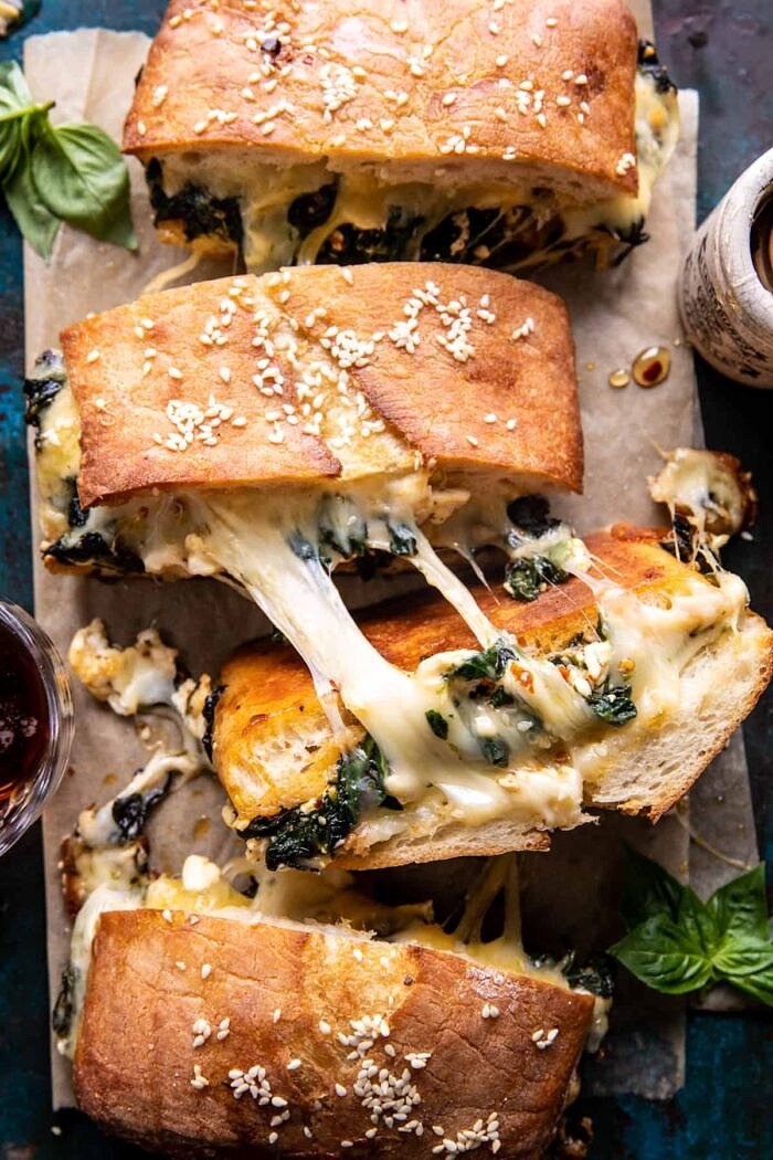 overhead close up photo of Party Size Spanakopita Melt
