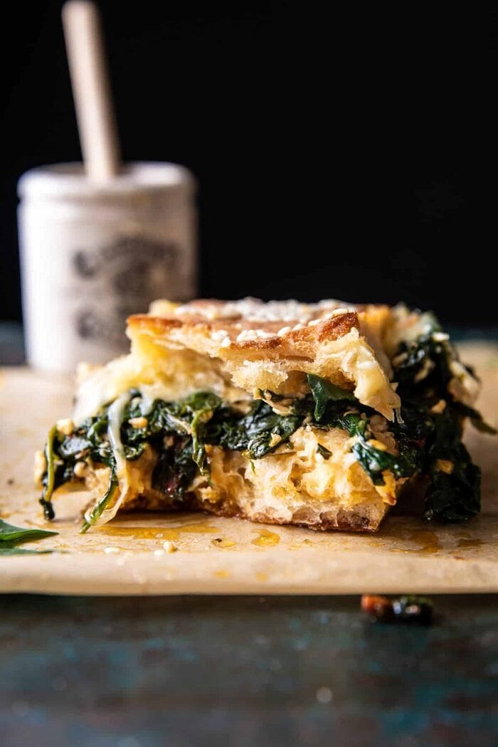 Party Size Spanakopita Melt with bite taken out