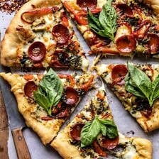 Pesto Pizza with Feta Stuffed Crust.