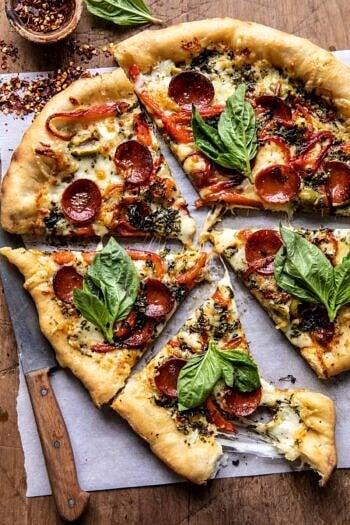 Pesto Pizza with Feta Stuffed Crust.